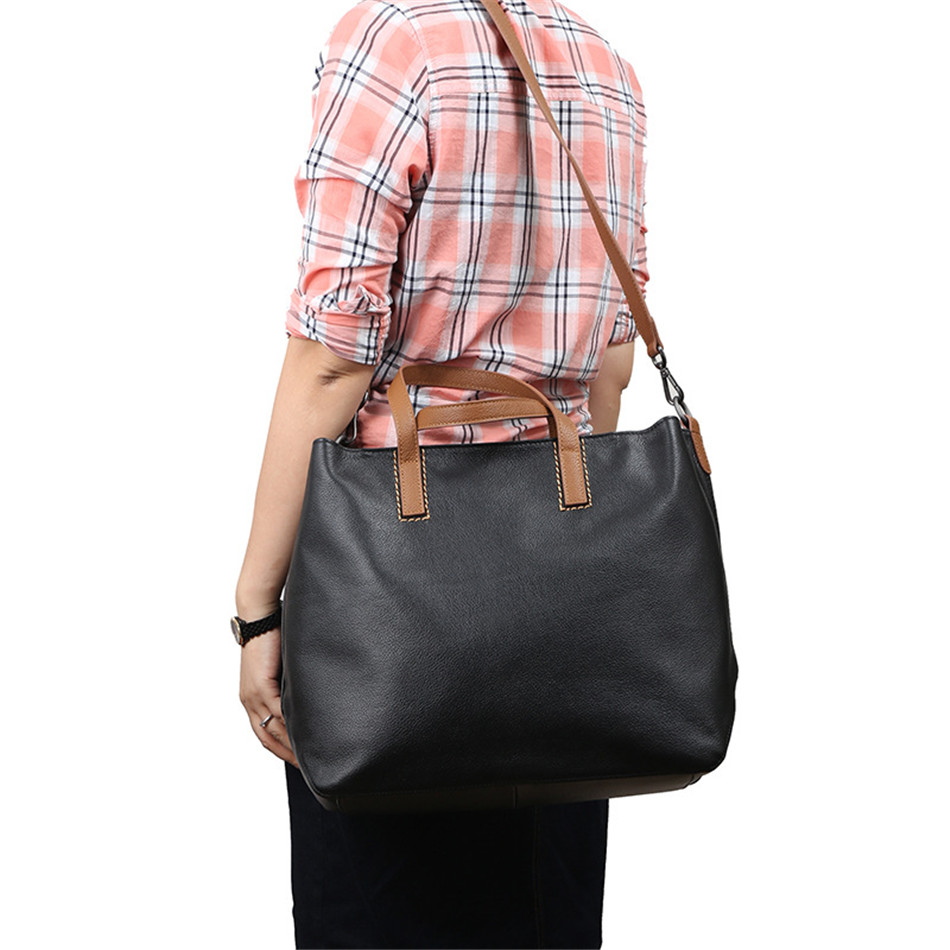 Fashion Large Capacity women leather handbags luxury brand bags genuine leather Shoulder Bag Casual Tote Bags Bolsas Feminina 2017 new classic casual patchwork large tote lady split leather handbags popular women fashion shoulder bags bolsas qn029 page 3