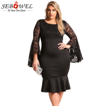 SEBOWEL Knee Length Plus Size Dress Evening Wear Long Sleeve Lace Dress Off Shoulder Big Size Short Party Dress For Fat Women