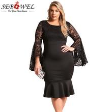 SEBOWEL Knee Length Plus Size Dress Evening Wear Long Sleeve Lace Dress Off Shoulder Big Size Short Party Dress For Fat Women недорого