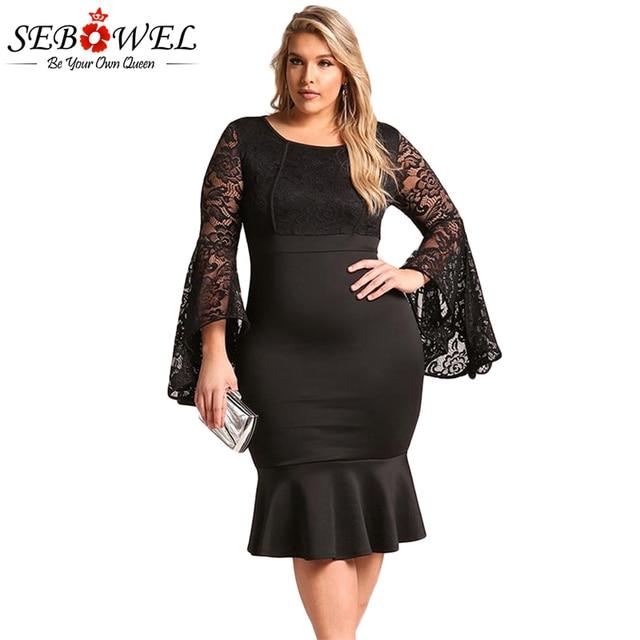9912f659ed9c SEBOWEL Sexy Plus Size Black Lace Bodycon Party Dress Women Elegant Lace  Flare Sleeve Dress Big