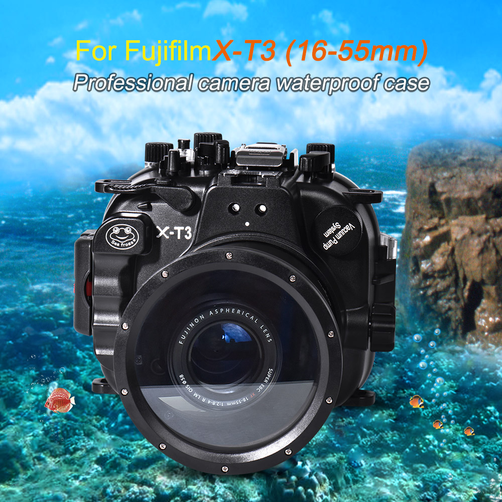 Mcoplus WP-XT3 40M/130ft Underwater Camera Waterproof housing <font><b>case</b></font> Bag for <font><b>fujifilm</b></font> Fuji XT3 <font><b>X</b></font>-<font><b>T3</b></font> 16-55mm Lens Camera image