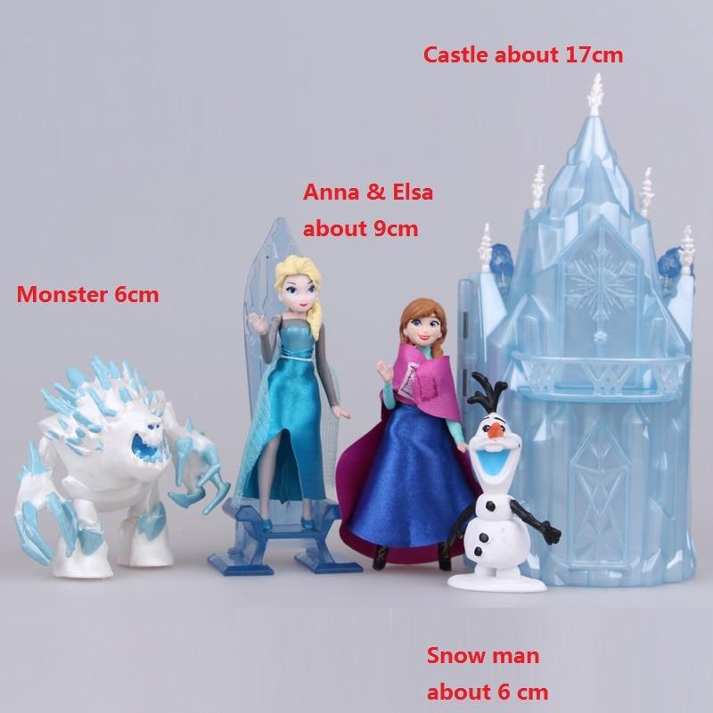 5 db / szett Gyerekek aranyos kis Anna és Elsa és a kastély A figurák megadása Toy Action babák poni gyermek születésnapi ajándék baba Anime