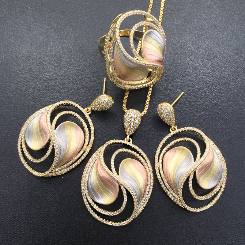 Lanyika Jewelry Set Fashion Delicate Original Hollow Round Sandblasting Necklace with Earrings and Ring Party Bridal
