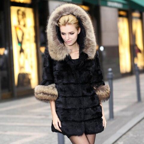 100% naturel femmes véritable fourrure de lapin long manteau avec capuche Fourrure De raton laveur garniture dame manteau grande taille veste d'hiver pardessus outwear tissu