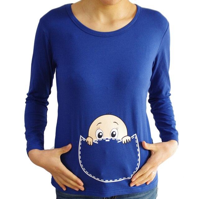 New maternity tops long sleeve baby peeking shirts  maternity T shirts baby peeking peek a boo shirt funny maternity clothes