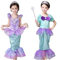 Girls Mermaid Dresses Princess Fancy Clothes Halloween Christmas Party Dress Kids Fairy Cosplay Costume Children Birthday