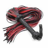 Fetish Black&Red PU Leather Whip Flogger Handle Spanking Paddle Knout Flirt BDSM Adult Game Erotic Sex Toys for Women Couples