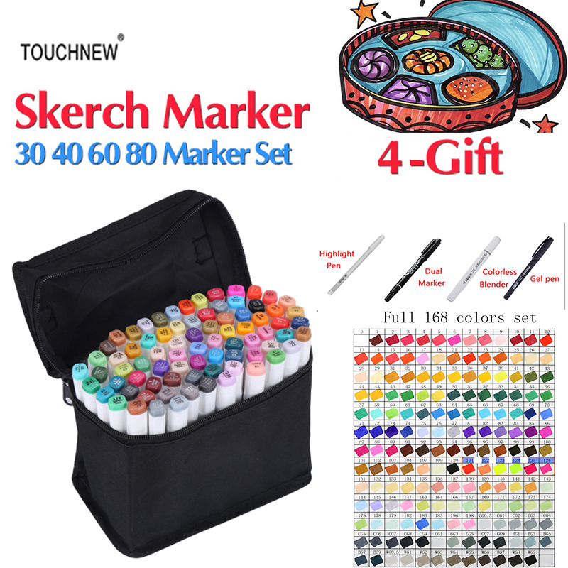 TOUCHNEW 168 Colors High Quality Art Markers Pen Set Dual Head Sketch Markers Pen For Drawing Manga Markers Comic Art Supplies