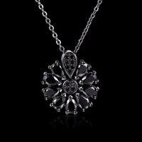 Trang sức của phụ nữ 18 '' Chuỗi Xoắn đen gun plated charm 4 Màu sun flower Pendant necklace quà tặng túi N990
