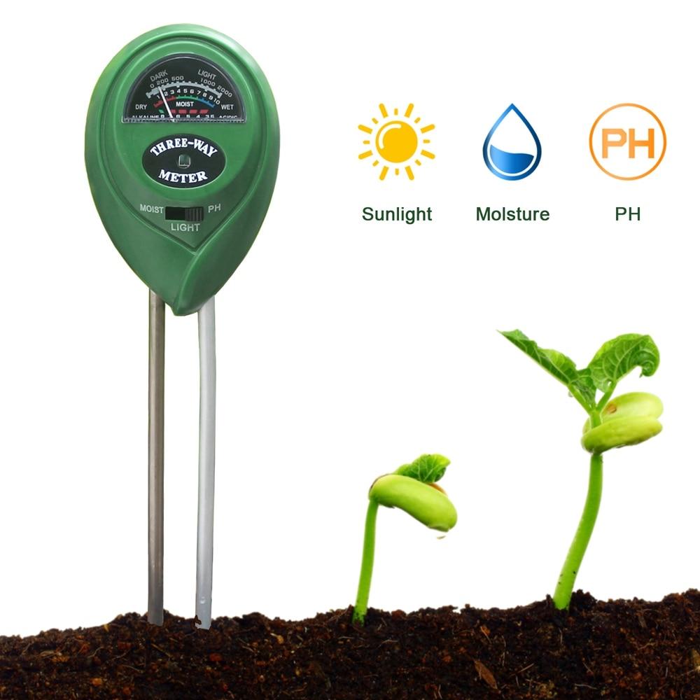 3 In 1 Soil PH Meter 3.5-8 PH Soil Moisture PH Sunlight Tester Light Humidity Measurement Tools For Garden Plant Greenhouse