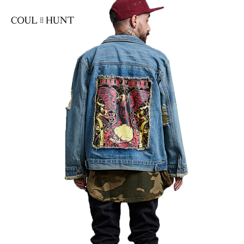 4efd6897164 New Ripped Denim Jacket Men 2018 High Street Oil Painting Jacket Mens  Destroyed Distressed Hole Jeans Jacket Coats S-XL
