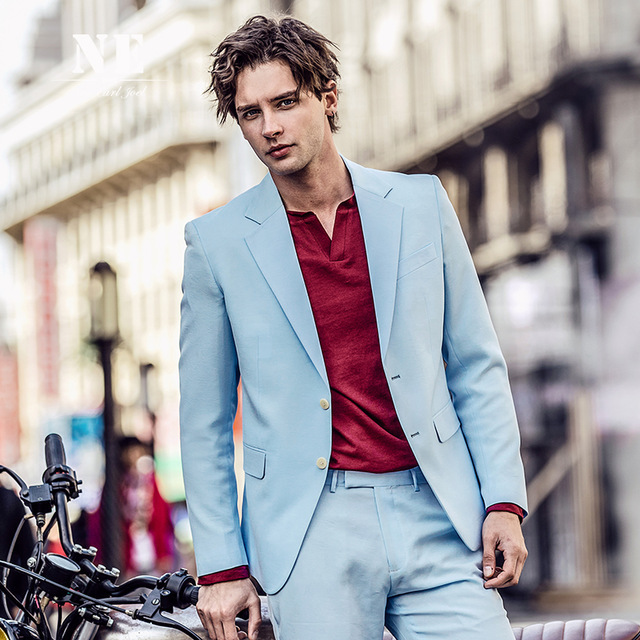 Spring Summer Men Suits Sky Blue Slim Fit Smart Casual Custom Party