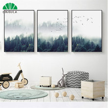 Wall Painting Scenery Forest Nordic Poster Tree Fog Landscape Posters And Prints Wall Art Canvas Painting Living Room Decoration(China)
