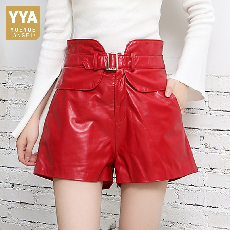 High Waist Genuine Leather Shorts Femme Design Slim Sheepskin Wide Leg Short Pants 2019 New Street Red Black Ladies Sexy Shorts