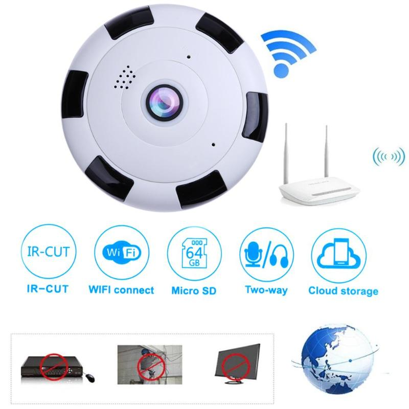цена на 1080P Mini 360 Degree Panoramic Wide Angle Wifi Wireless IP Camera Night Vision Smart Fisheye Home Security Camera
