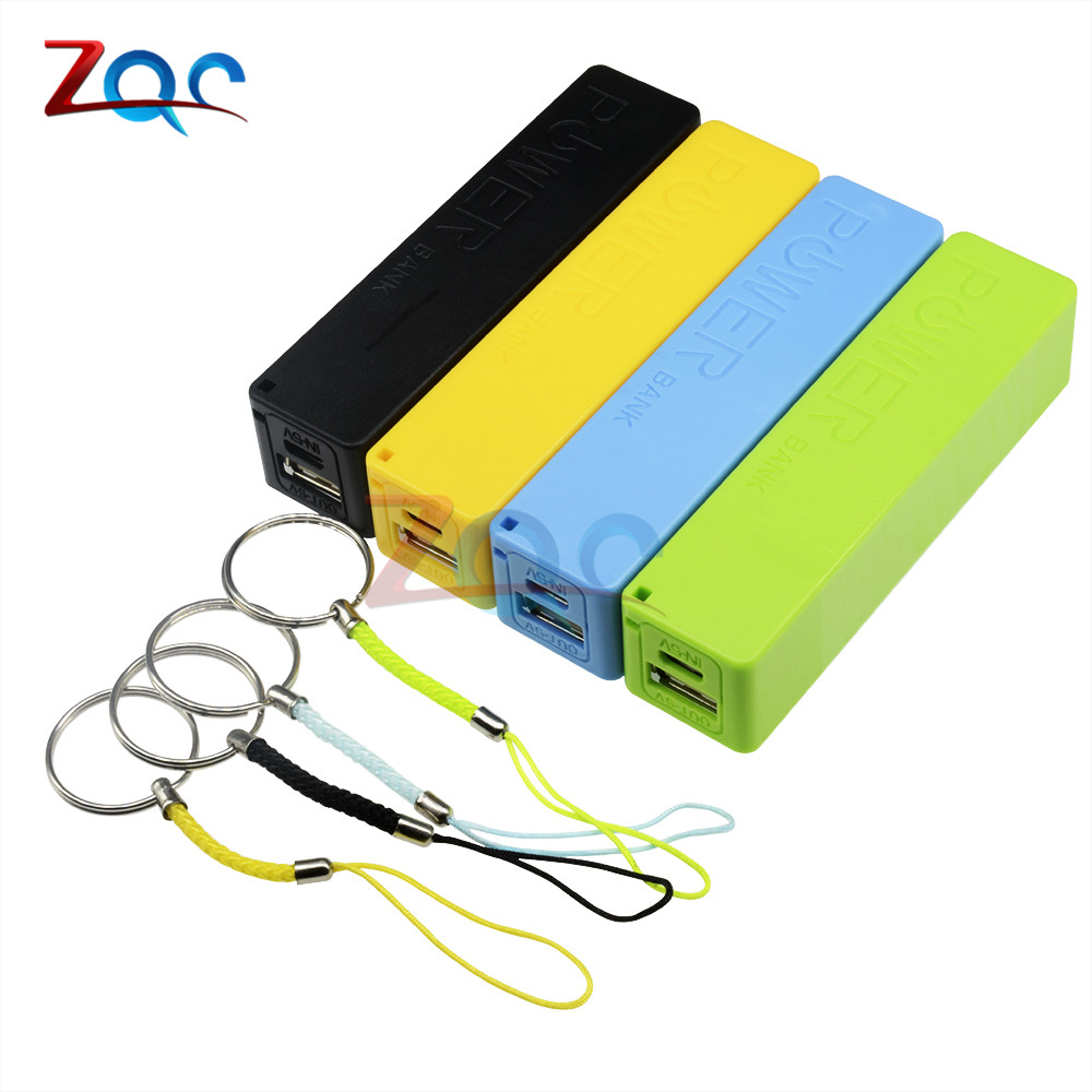 New Portable Power Bank 18650 External Backup Battery Charger With Key Chain Green Black Yellow Blue 1
