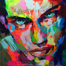 Palette knife painting portrait Face Oil Impasto figure on canvas Hand painted Francoise Nielly 15-41