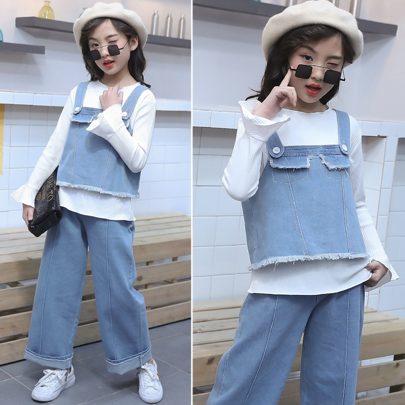 2019 New Girls Spring and Autumn Cowboys Three Set Fashion Spring and Autumn Girl Jeans Set in Clothing Sets from Mother Kids