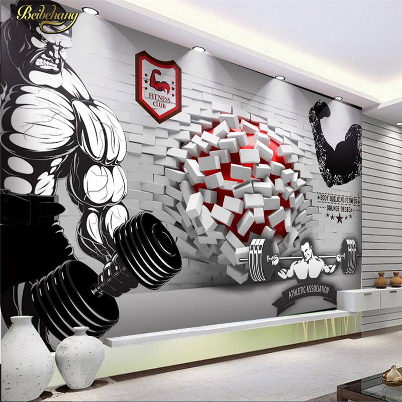 Beibehang Custom Photo Wallpaper Wall Murals Wall Stickers 3D Broken Wall Into The Gym Gymnasium Tooling Background Wall