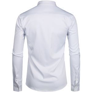 Image 3 - Mens Hipster Mandarin Collar Dress Shirts 2019 Brand New Slim Fit Long Sleeve Chemise Casual Work Busienss Shirt Male White 2XL
