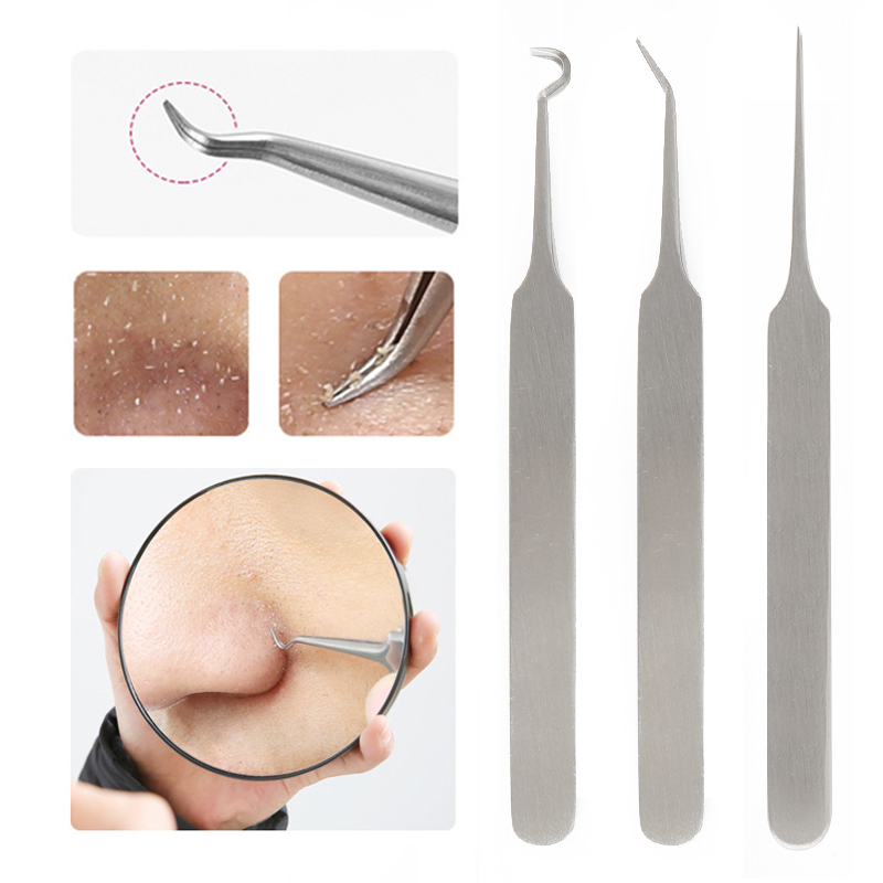 Stainless Steel Blackhead Acne Blemish Pimple Extractor Remover Needles Bend Curved Blackhead Acne Clip Tweezers Face Care Tool
