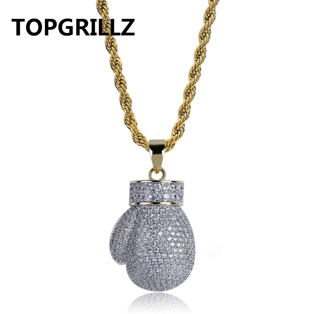 TOPGRILLZ Gold Silver Color Mini Boxing Glove Pendant Necklace Men Iced Out Cubic Zircon Chains Hip Hop/Punk Charms Jewelry Gift