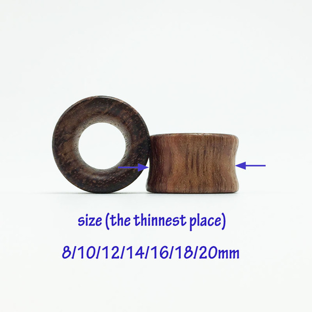 2 Pieces Natural Wood Ear Tunnels