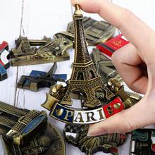 Pegatinas de refrigerador europeo, imán de metal tridimensional británico, francés, americano, coreano, japonés, turismo de Singapur