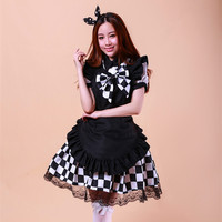 Women Girls Lolita Style Japan Anime Nyaruko Yasaka Black White Plaid Check Maid Apron Dress Bowtie