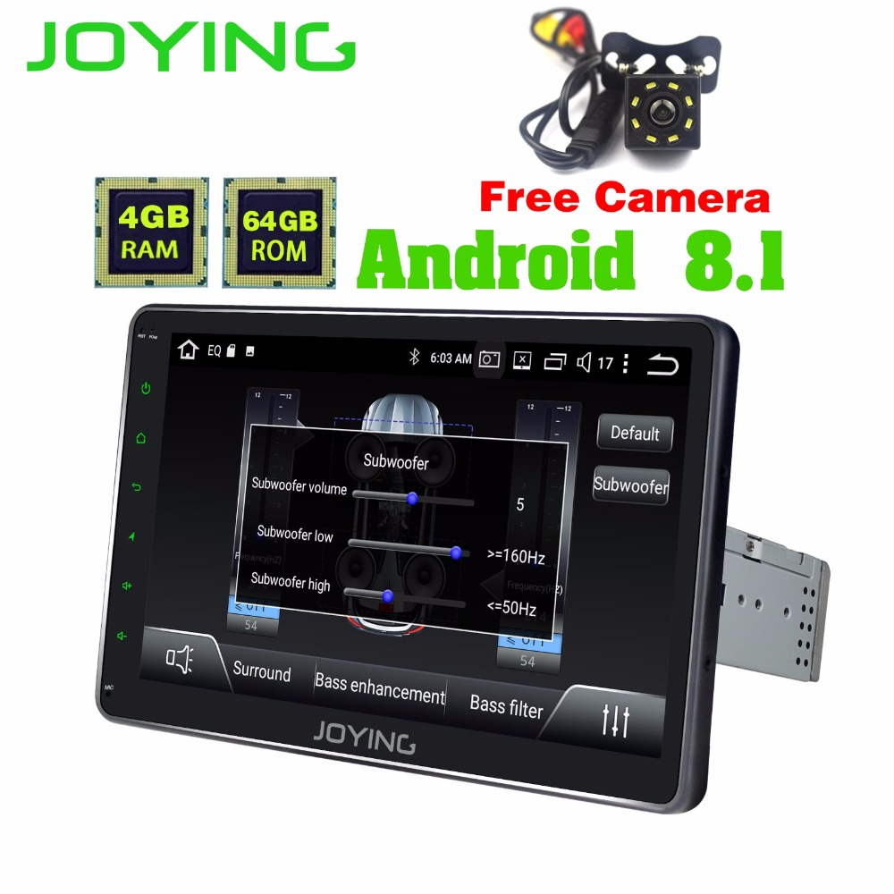 JOYING 1DIN Android 8.1 Autoradio 10.1 IPS écran 4 gb RAM Octa Core Stéréo 1024*600 GPS Radio avec Intégré DSP Caméra Libre