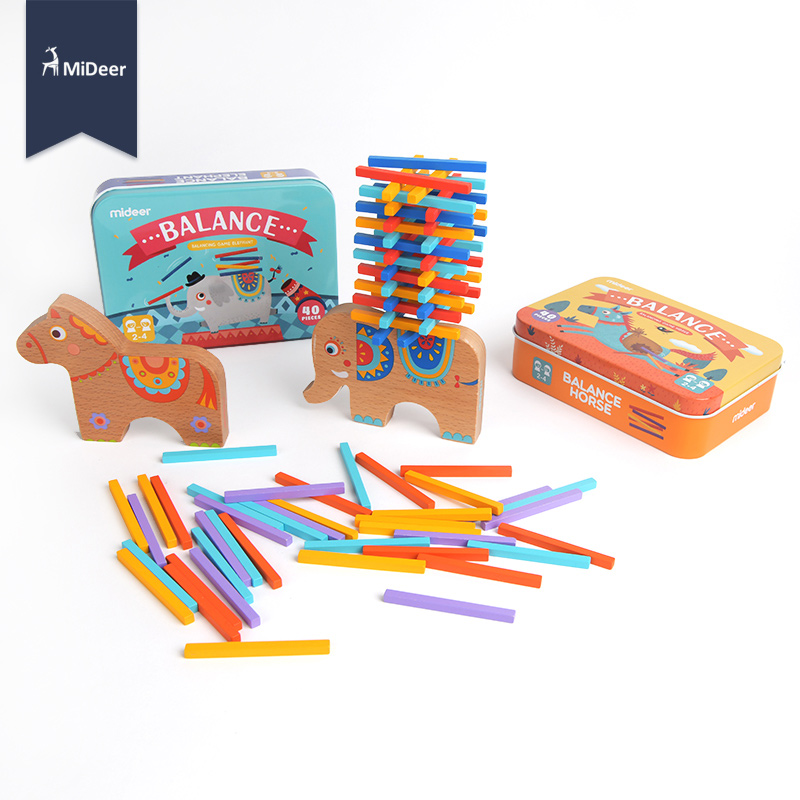 MiDeer Montessori Wooden Stacking Balance Elephant Educational Math Toy For Children Learning Play Puzzle Game Popular Kids Gift