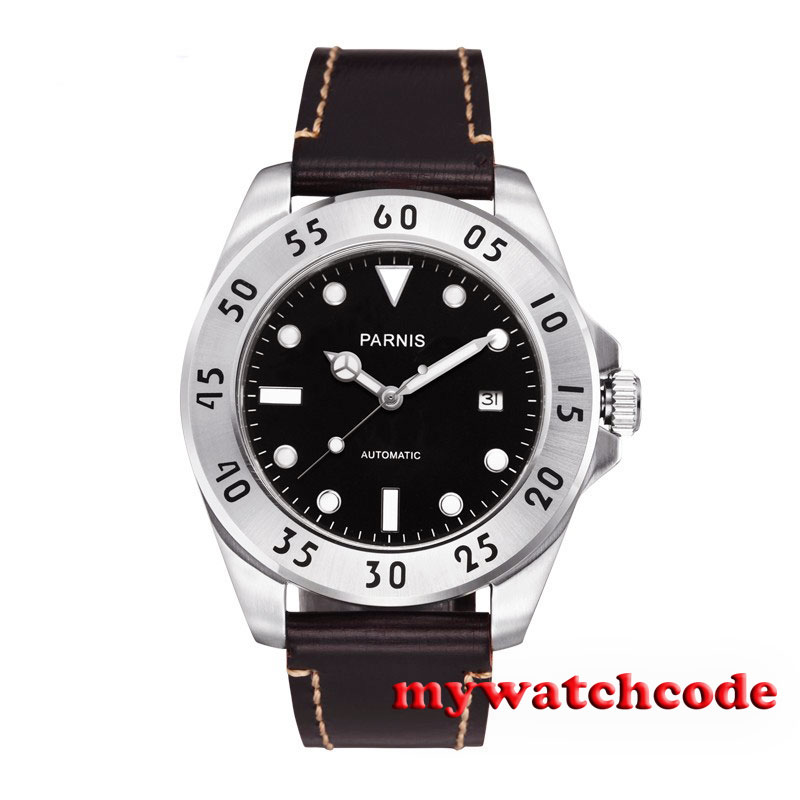 Купить 43mm Parnis black dial Sapphire Glass deployment clasp Automatic mens Watch 428B в интернет-магазине дешево