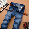 Sulee Бренд 2017 Мужские Джинсы Бренд мужчины Регулярный fit джинсы Байкер джинсы Причинные брюки Промывают Синие джинсы для мужчин