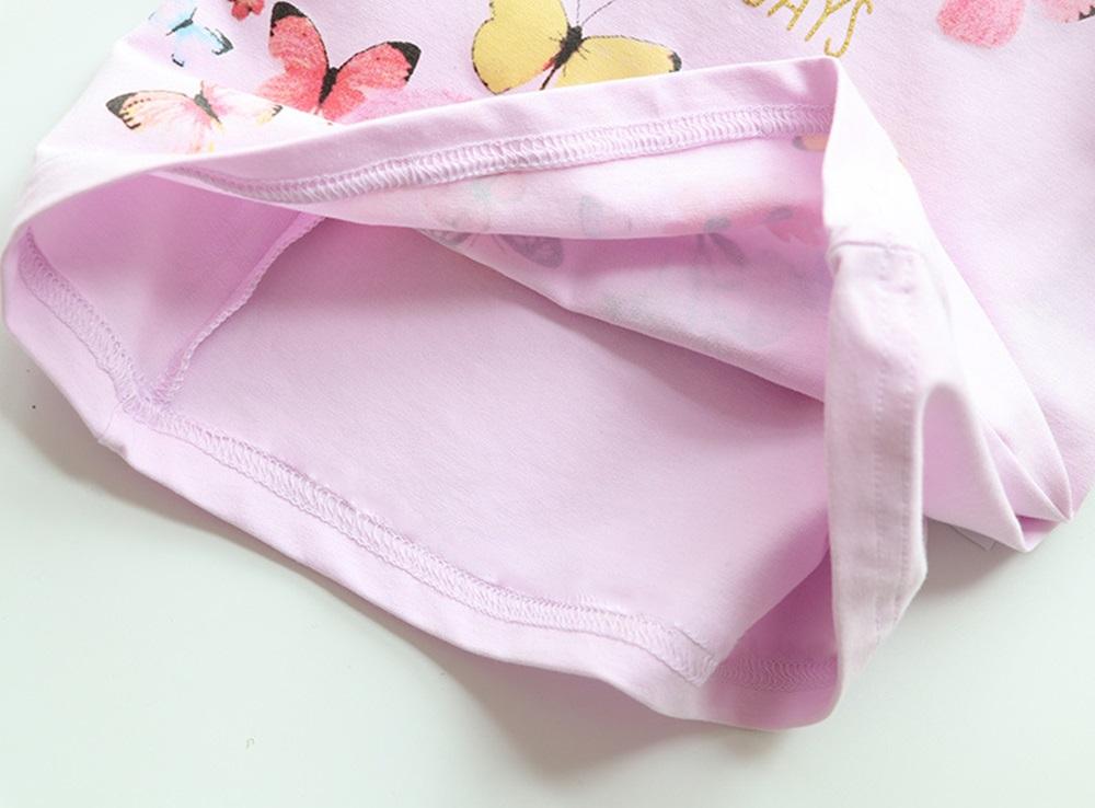 New Cotton Kids T-Shirt Children Summer Short Sleeve T-Shirts for Girls Clothes Cat Rabit Butterfly Baby T Shirt Toddler Tops 14