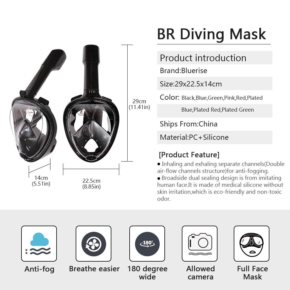 Bluerise aletas de natación y máscara Set Anti-fog Snorkel máscara completa antideslizante aletas equipo de buceo aletas de buceo máscara - 3