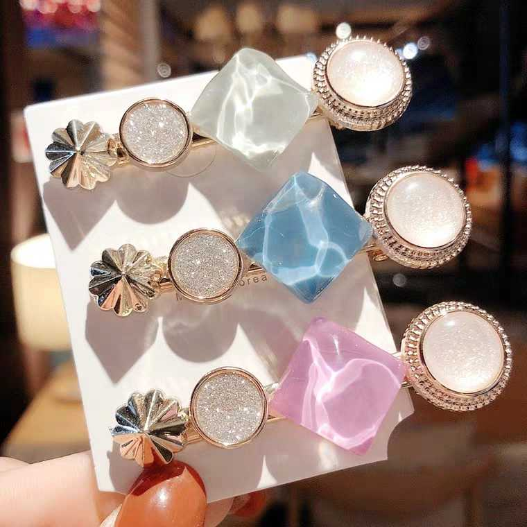 2019 Fashion Women Hair Clips Colorful Hairgrips Sweet Girl Simple Korean Style Hairpins Alloy BB Handmade INS Hair Accessories