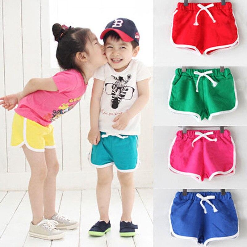Boys shorts 2016 new candy color girls shorts hot baby boys shorts summer cotton beach pants