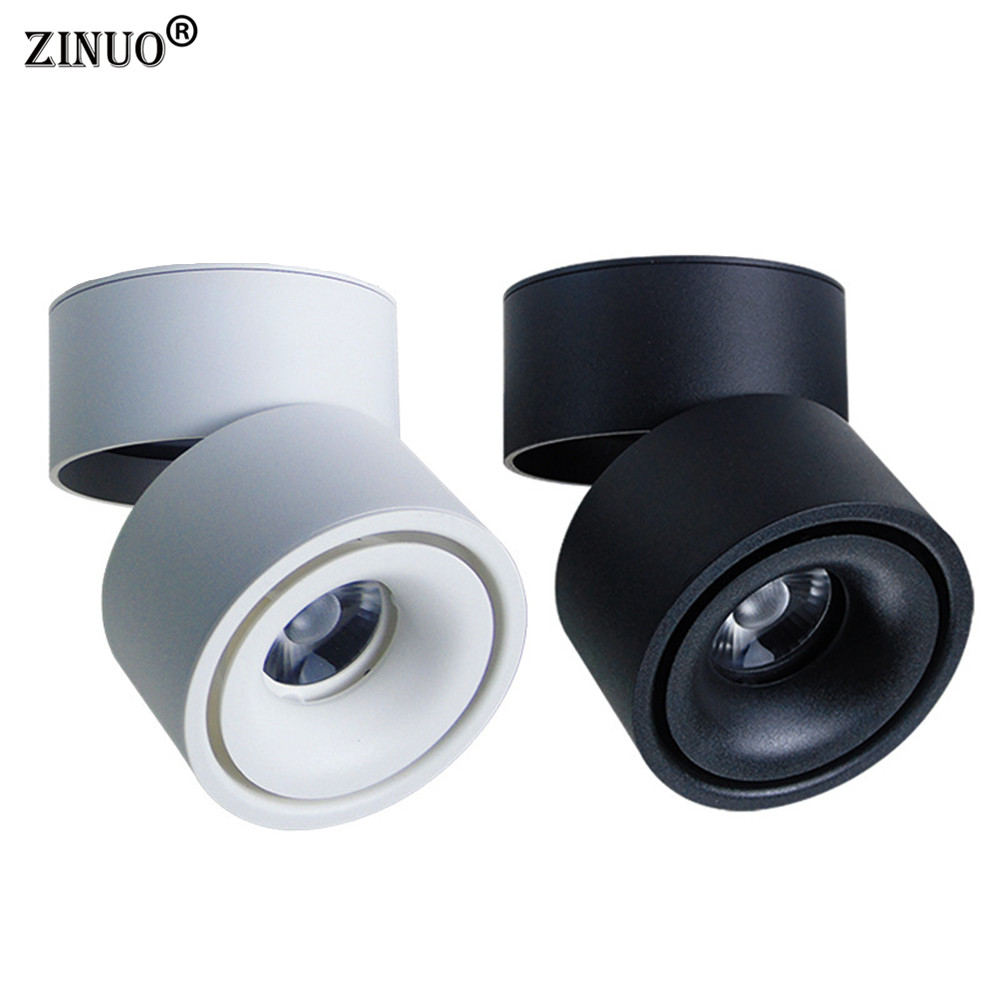 ZINUO Surface Mounted LED COB Downlight 90 Degrees Adjustable 10W 15W Spot Light 360 Rotatable LED Lamp For Indoor/Foyer/Hall