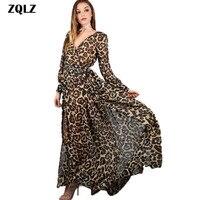 Zqlz 2018 Summer Bohemian Boho Style Long Dress Chiffon Asymmetrical V Neck Full Sleeve Print Leopard
