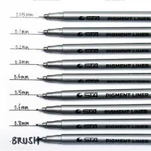 STA Waterproof Fade Proof Micron PenTip Fine Liner Black Sketch Water Marker Pen for Manga markers Drawing Art Supplies