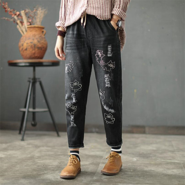 All About the Cat – Women's Embroidered Jeans