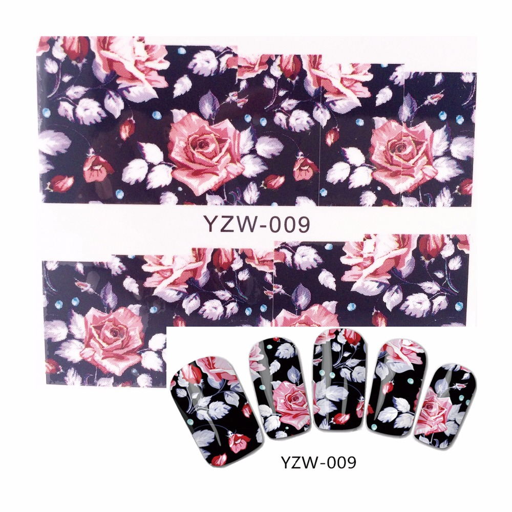 ZKO 1 Sheet Water Decals Transfer Stickers Nail Art Stickers Charm DIY Chic Flower Designs Fashion Accessories 009 yzwle 1 sheet nail art stickers animal pattern 3d mysterious black cat designs water transfers decals diy decoration accessories