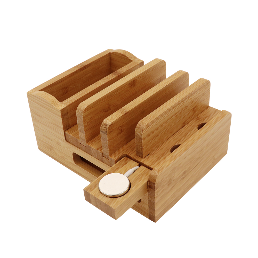 Image 4 - iCozzier Bamboo Charging Station Dock Desktop Organizer Holder for iPad,iWatch Stand Cord Organizer MultiDevices Docking Station-in Home Office Storage from Home & Garden