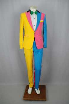 Irregular Colorful Men\'s Suits Magician Clown Performance Stage Outfits Nightclub Male Singer Host Blazers Pants Suit DS Costume