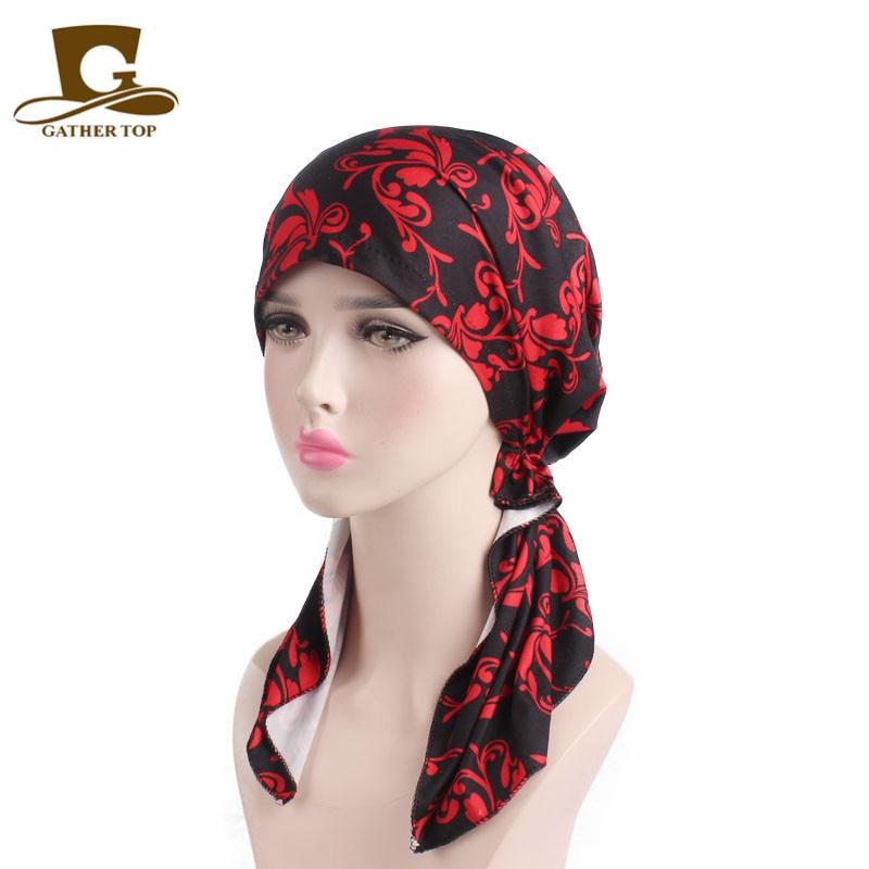 New Fashion Women Pre Tied Bandana Turban Chemo Caps Head Scarf Sleep Cap Hair Cover Hat Head wraps Hair accessories for Women