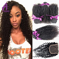 8A Mongolian Kinky Curly Hair With Closure Unprocessed Afro Kinky Curly Virgin Hair 3 Human Hair Bundles With Lace Closure