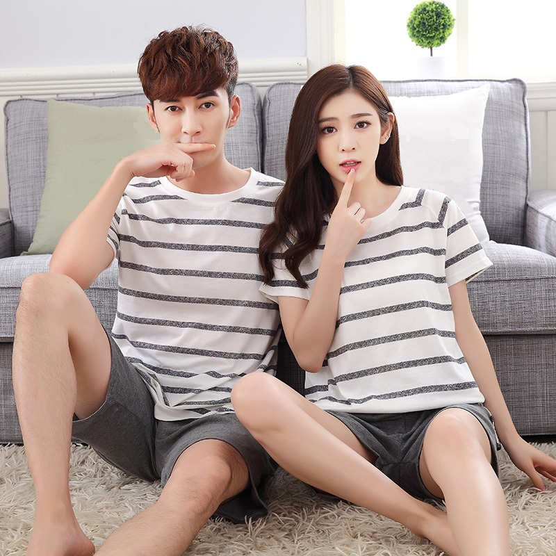 Cotton Long Sleeve O-Neck Pajama For Men Spring Autumn Men Pajamas Set Women Tracksuit Couple Striped Sleepwear Homewear M-3XL