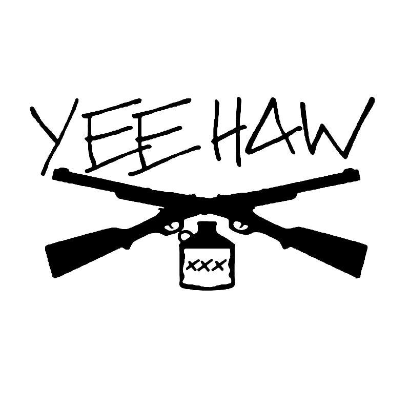 Yee Haw autocollants de voiture   Étiquettes Moonshine pour moto, accessoires de style de voiture, noir/argent, 15.2CM * 8.7CM