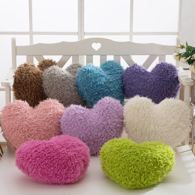 Berber Fleece Fluffy Heart Cushion With Zipper Sofa Pillow Plush Toy Gift  For Wedding Party Decoration
