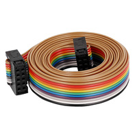 2 54mm Pitch 10Pin 10 Way F F Connector IDC Flat Rainbow Ribbon Cable Wire 148cm